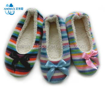 Oem Woman Knitted Fabric Tpr Dance Shoes And Terry Ballet Slippers ...