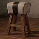 Loft Style Wood Leg Vintage Leather Canvas Industrial Stool for Living Room