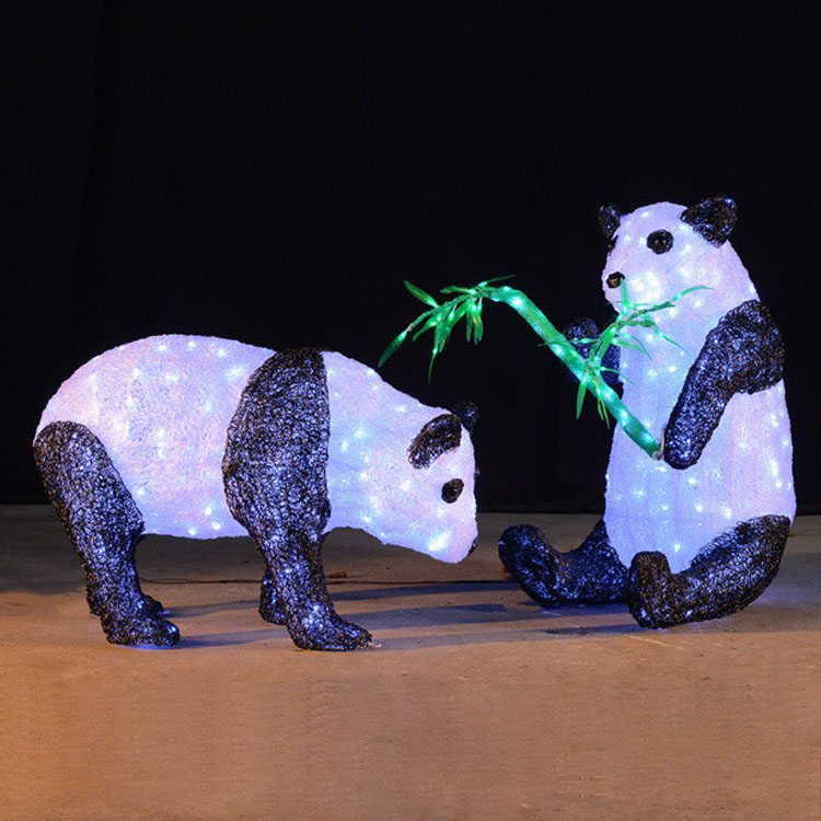 Animal modeling christmas decorative led 3d panda sculpture light