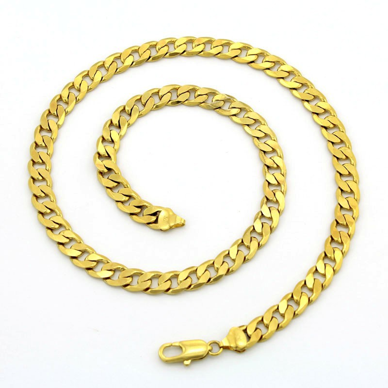 2015 new 18k gold plated Long link chain necklace chunky curb cuban necklace for women