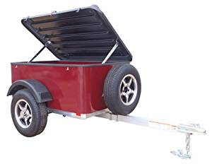 Hybrid Trailer Co. Vacationer with Spare Tire - Enclosed Cargo Trailer, 990 lbs. Gross, 30 cu/ft. - Black Cherry