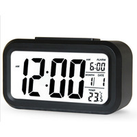 Large LCD Display Digital Alarm Low Light Sensor Technology Soft Night Light Easy to Set and Watch Digital Alarm Clock