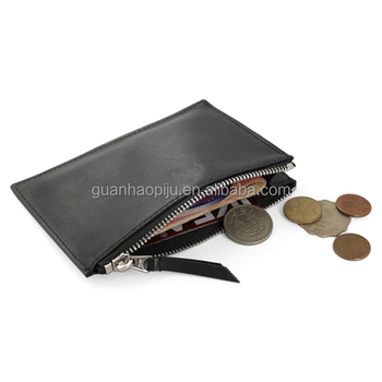 Black Genuine Leather Simple Small Zipper Coin Purse Coin Sorter Change Purse Wallet Organizer