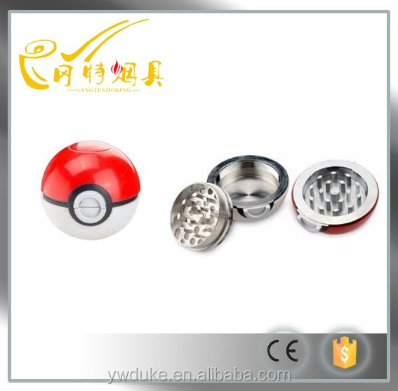 2016Attractive Cute 52MM*3Parts Pokeball Herb Grinder Wholesale Poke Ball Herb Grinder Pokemon Go Tobacco Grinder