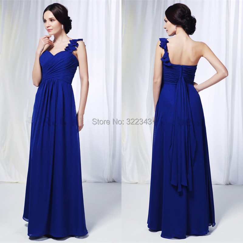 Charming Navy Blue Long Chiffon Prom Gown Sweetheart ...
