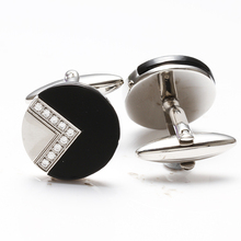 Black Agate Silvery Classical Executive Cuff links For Men Perfect Gift