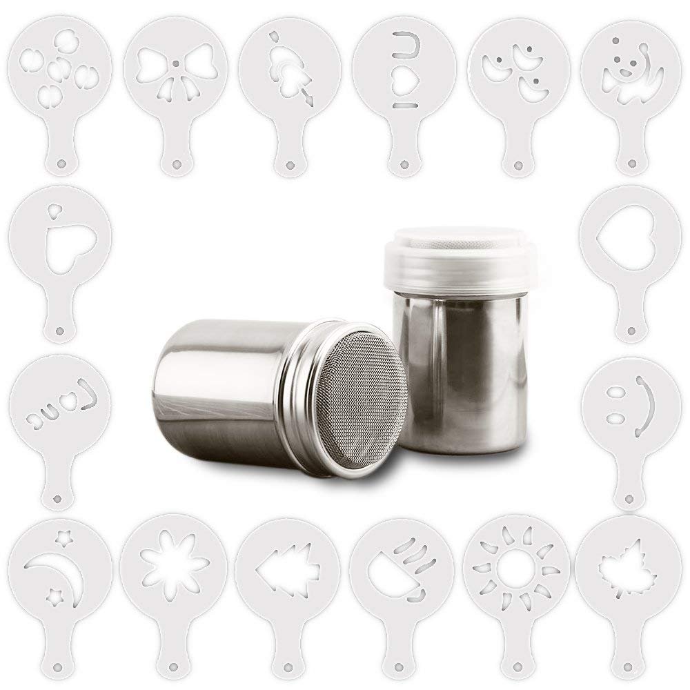 AIFUDA Power Can For Baking Cooking Home Restaurant with 16 Pcs Printing Molds Stencils 3 Pack Stainless Steel Powder Shaker Coffee Cocoa Dredges with Fine-Mesh Lid