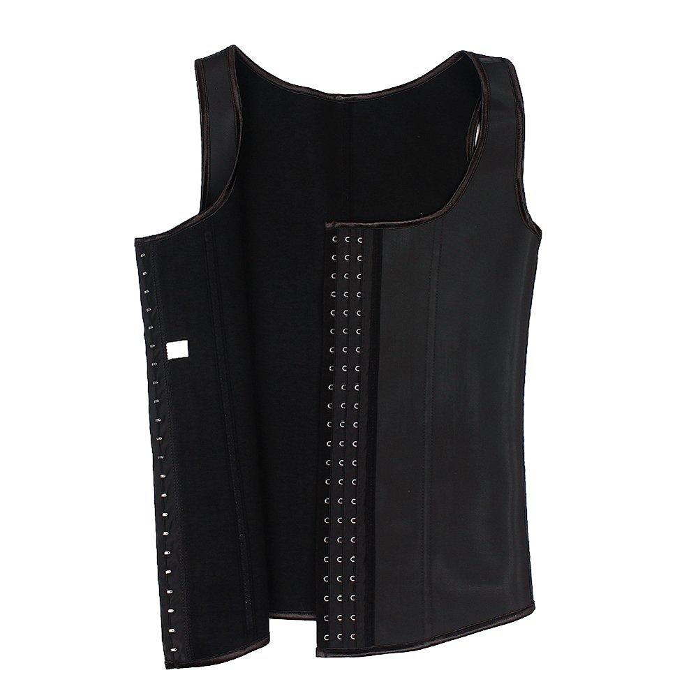 93d8a0300 Get Quotations · Latex Waist Trainer Vest for Men Black 456XL Waist Cincher  Firm Tummy Slimming Latex Waist Cincher