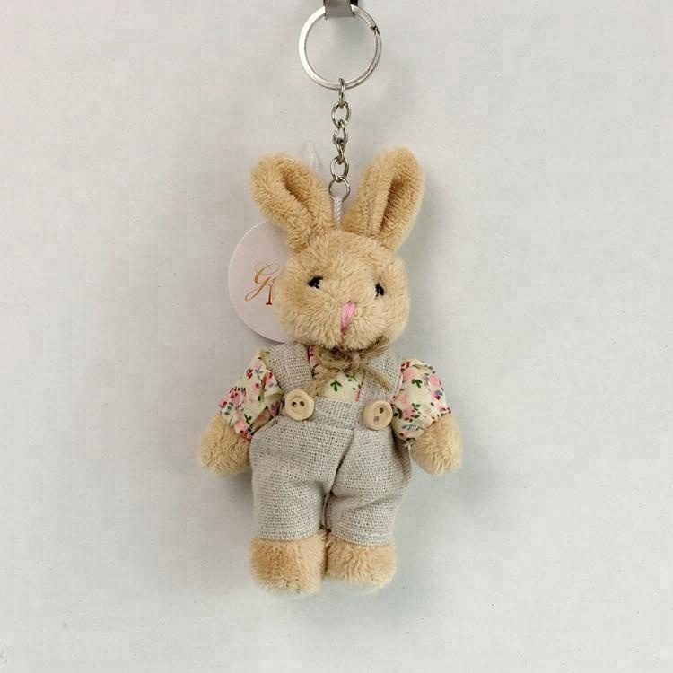 Hot sale 14cm small stuffed mini couple bears keychain plush toy <strong>rabbit</strong> for plush bouquet