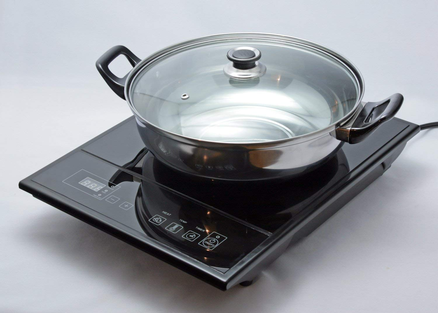 Total Chef TCIS11BNG Induction Cooktop with Bonus Pan and Glass Lid Black
