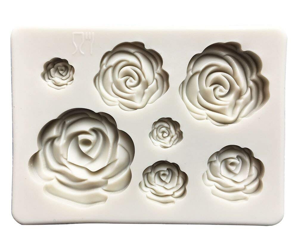 Roses Collection Fondant Candy Silicone Mold, Flower Fondant Mold for Sugarcraft Cake Decoration, Cupcake Topper, Polymer Clay, Soap Wax Making Crafting Projects