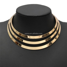 Gold Charm Choker Necklaces Women Gorgeous Metal Multi Layer Statement Bib Collar Necklace NSNK-200002