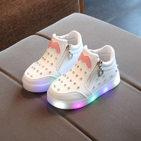 newest best selling lips cheap high quality Led light fashion child shoes kids girls high shoes