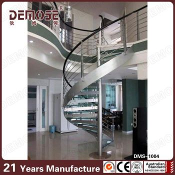 Staircases Model Beautiful Curved Staircase With Stainless Steel Rail