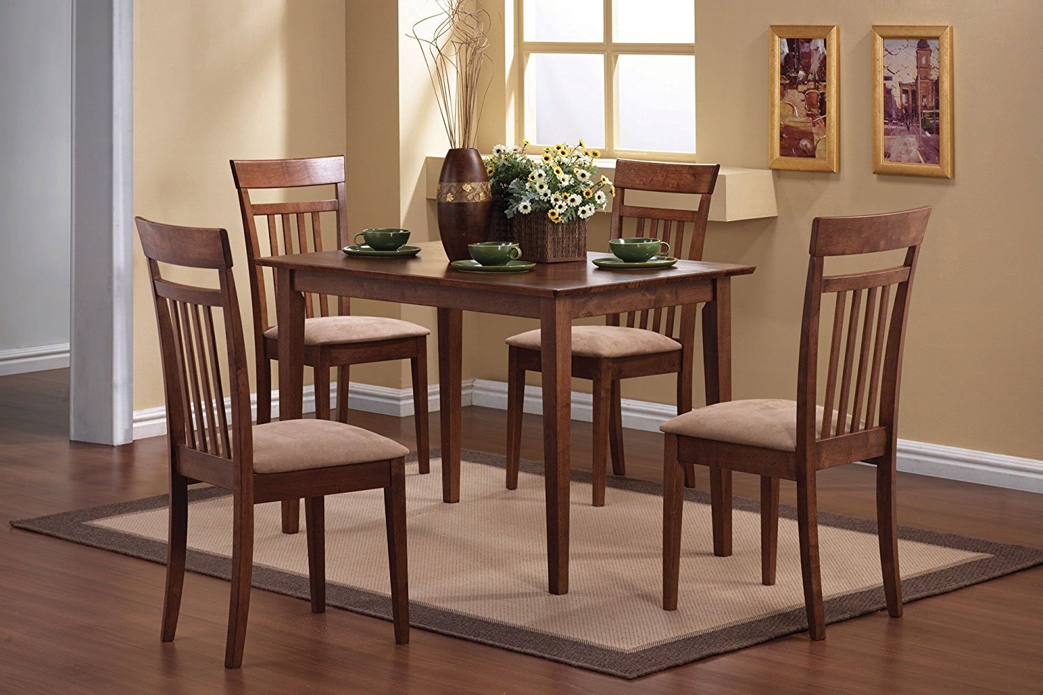 Simple Relax 1PerfectChoice 5 PC Casual Dining Set Simple Shapes Table 4 Padded Chairs Slat Back In Walnut
