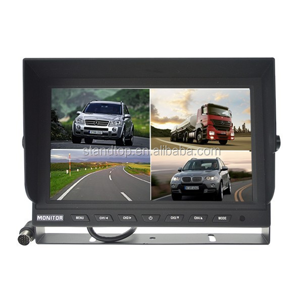 2015 New 9 inch car rearview crt monitor with very stable U-style bracket and support 4 camera connector for Bus/Trailer/Truck