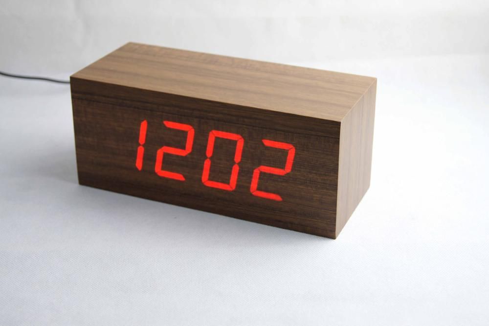 Best Selling Product Home Decoration Led Digital Cube Wooden Table Desk  Time Date Temperature Display Voice 08fd09a174