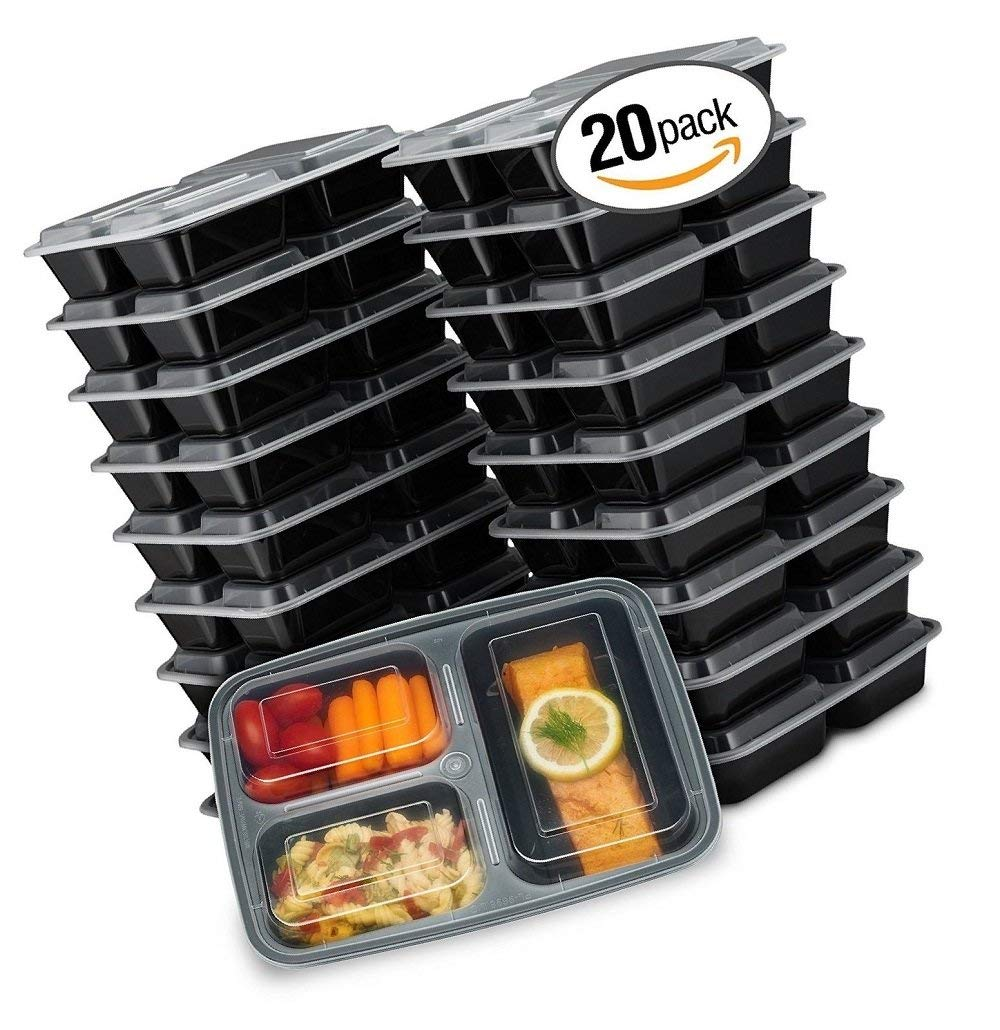 Green_Kitchen EZ Prepa [20 Pack] 32oz 3 Compartment Meal Prep Containers with Lids