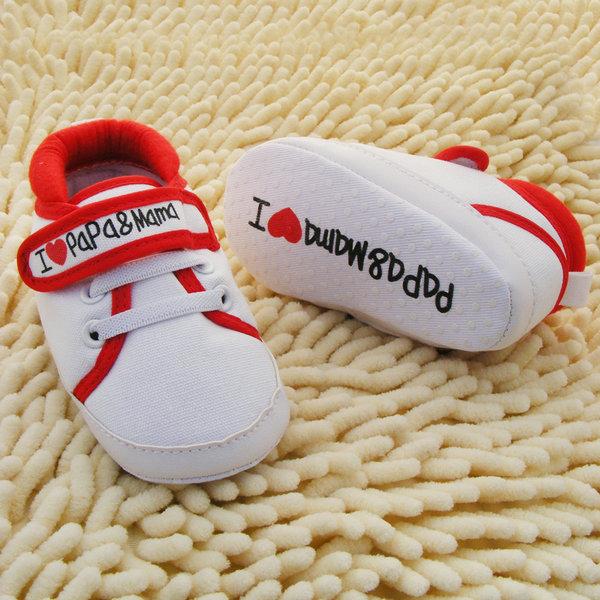 חדש חמודה בצורת לב-אני אוהב את אמא ואת אבא מקסים לתינוק נעליים ילדה רכה התחתונה נעלי תינוק נעלי FreeShipping