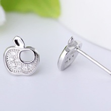 fashion apple design 925 sterling silver earring