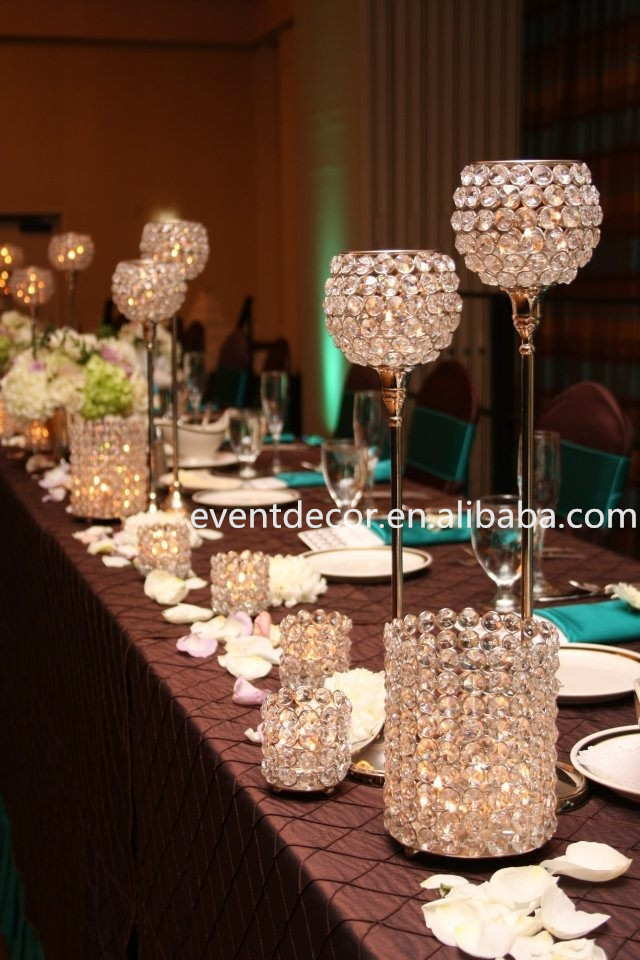 Beautiful Crystal Centerpieces,Tall Silver Candle Holders ...