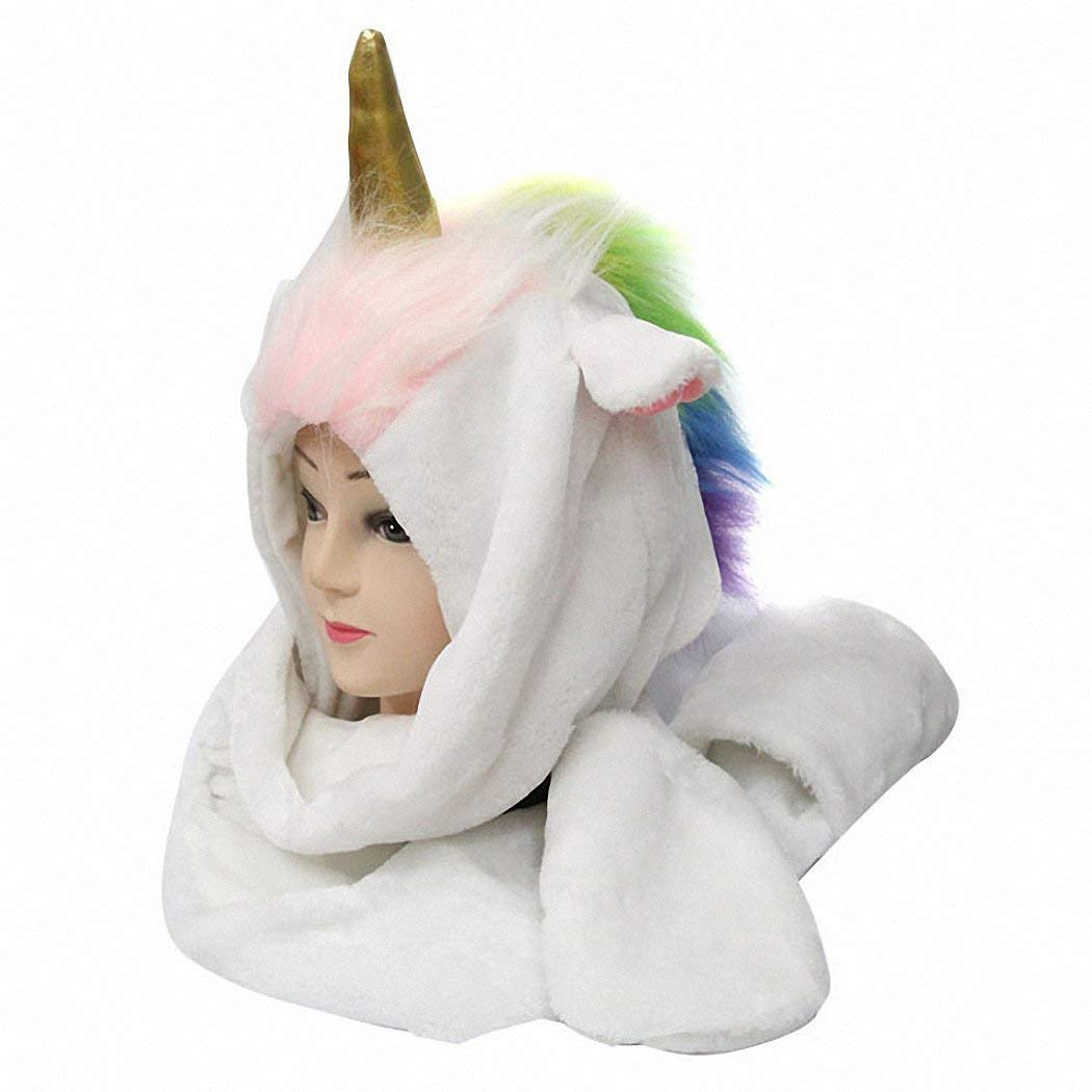 JcxHat Unicorn Ears Horn Hat Scarf Mittens 3 in 1 Set Winter Hoodie, Cartoon Animal Party Costume Gift, White
