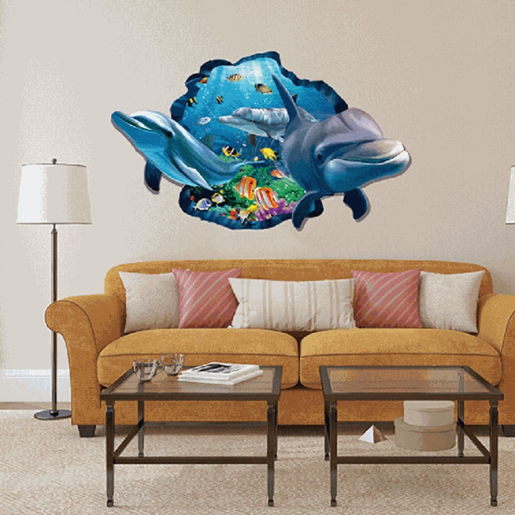 Usstore 3D Shark Removable Wall Stickers Nursery Family Home Room Decor Decoration Vinyl Art Mural
