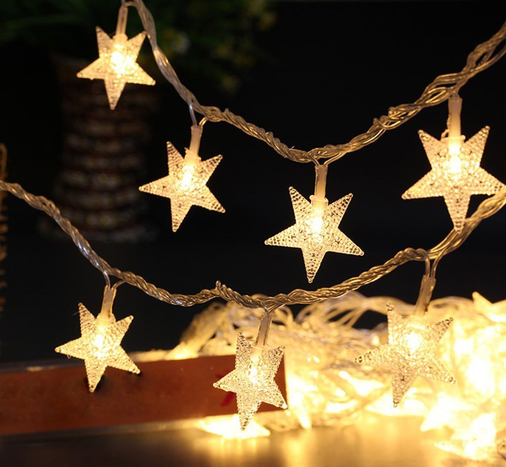 get quotations greensen battery operated string lights 40 led star shaped tent light 197 ft fairy light for