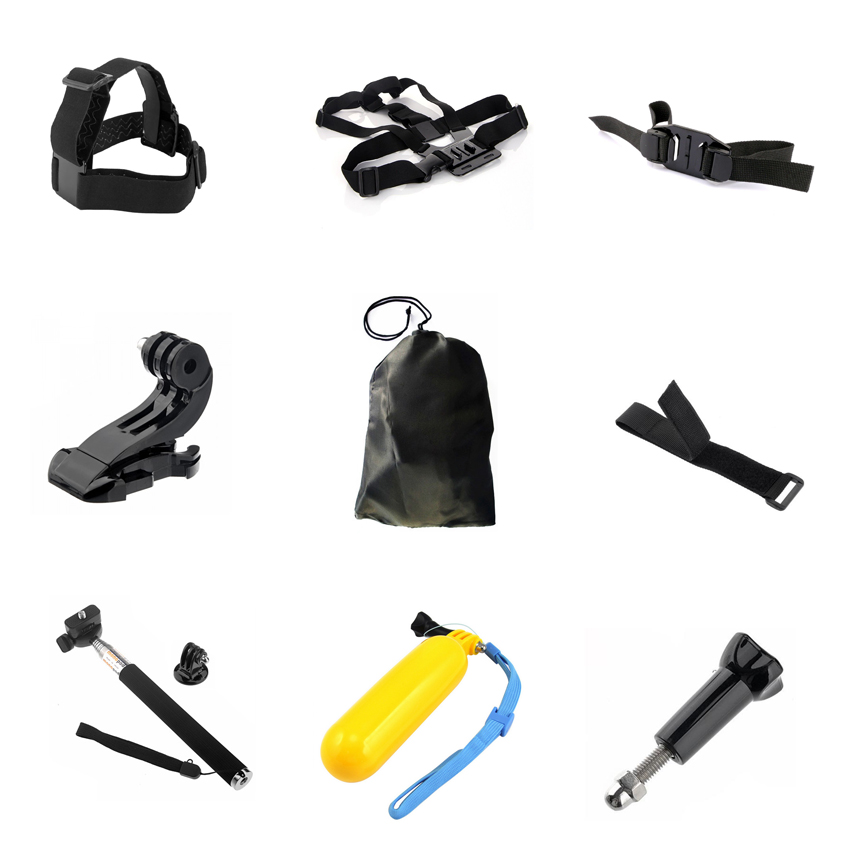 9in1 Accessories Set for Gopro Hero 4 3+3 Xiaomi Yi Remote Wrist Strap+Helmet Extention Kit Mount+Chest Belt+J Hook Mount+Bobber