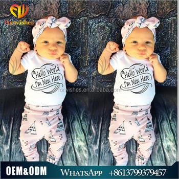 European style fashion infant clothes headband+pants+romper 3pcs baby  clothes sets hello world ef10327693