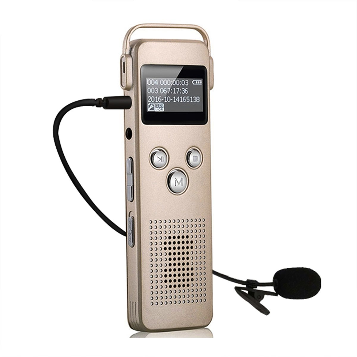 Noyazu A20 Portable 8GB Digital Recorder OLED Screen Stereo HD Recording Voice Activated Recorder Pro Dynamic Noise Reduction with MP3 Player Dual Microphone Recorder Dictaphone (Gold)