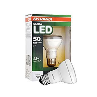 SYLVANIA Ultra 7-Watt (50 W Equivalent) 592637 R20 Medium Base (E-26) Soft White Dimmable Indoor LED Flood Light Bulb