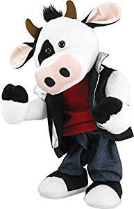 LuftBalloons 12 Inch Musical Animated Moos Like Jagger Animated Plush Cow