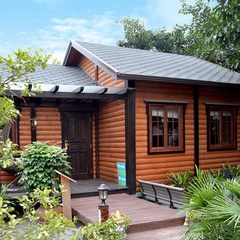 China supplier quality fiber cottage wooden cabin prefabricated chic cedar log home wooden houses for sale