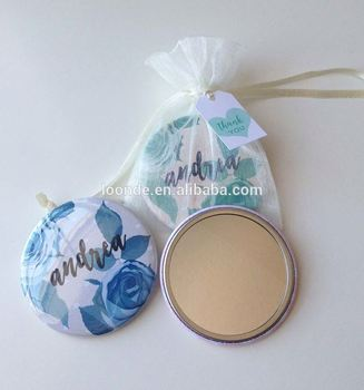 Pretty personalised organza mirror purse pouch for wedding favour