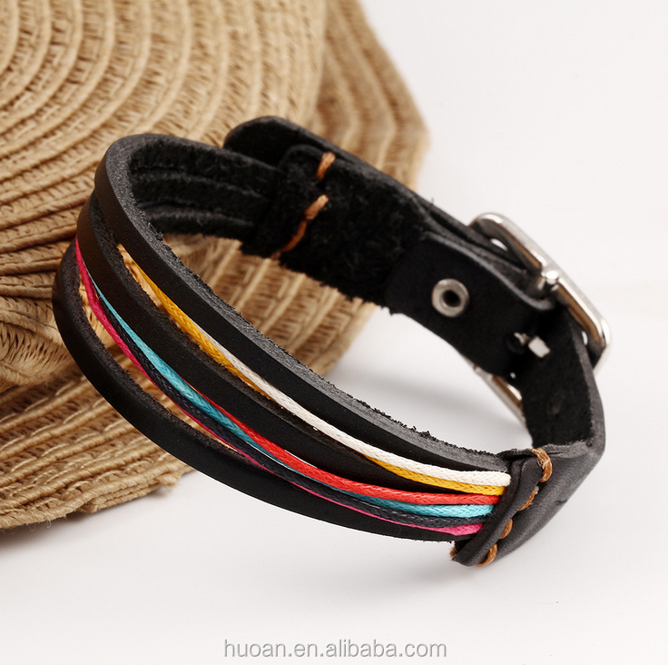 Foreign <strong>trade</strong> in Europe and America retro big multi-layer leather bracelet wild rainbow multicolor bright minimalist trend strap