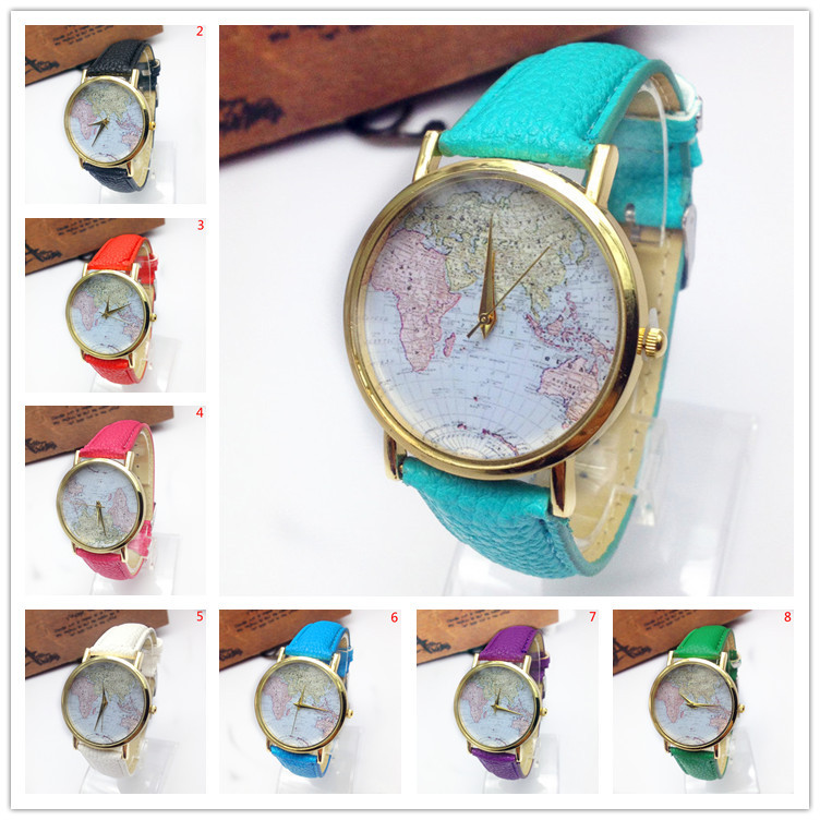 Cheap map leather watch find map leather watch deals on line at get quotations mini world new 2015 brand fashion watch map airplane travel around the world polymer clay leather gumiabroncs Image collections