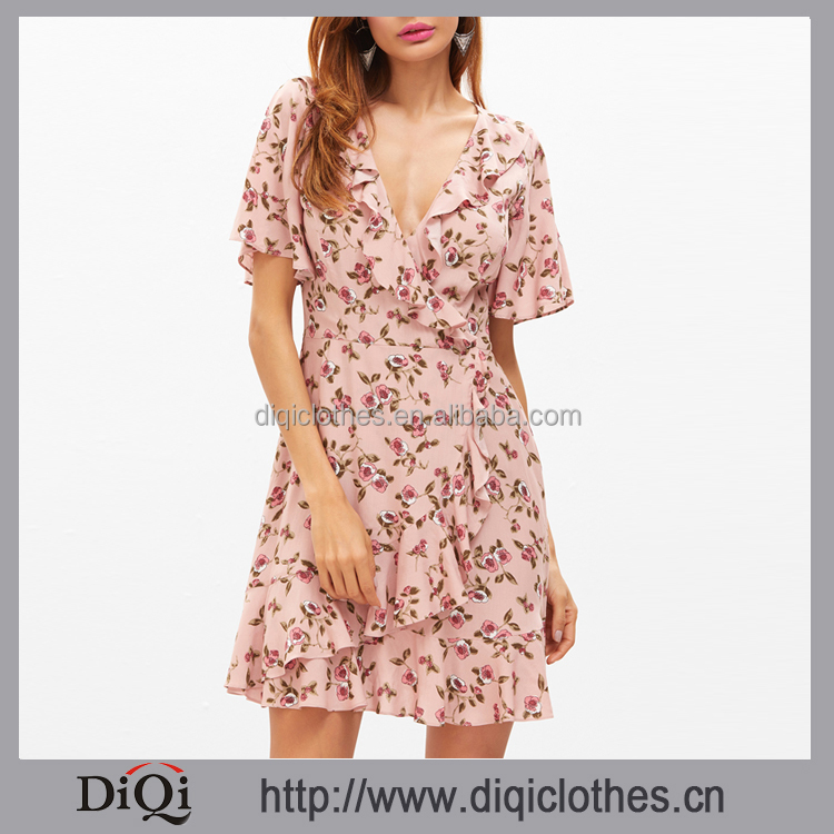 Guangdong clothes supplier wholesale women sexy Pink Floral Print Surplice Wrap 100% Rayon Ruffle Dress