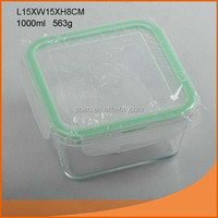 Customized square borosilicate glass heated food container with fast delivery