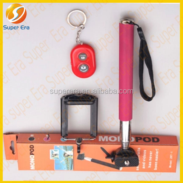 2014 new items mobile phone selfie stick monopod remote bluetooth shutter control