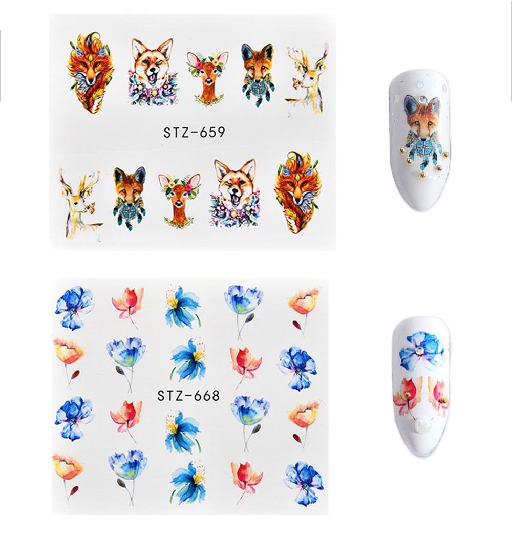 Fulljion 15Pcs Nail Sticker Water Decals Animals Wolf Deer Flamingo Nail Art Stickers