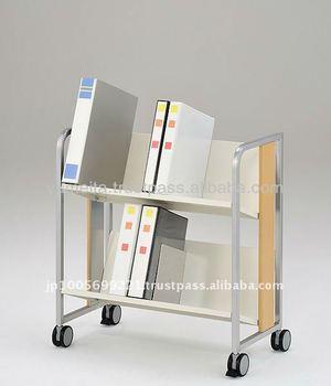 Japanese Luxury Office Supplies 3 Shelf Book Shelf Cart Rack Caster Wheel