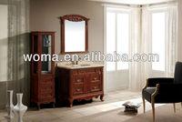 Antique oak solid wood bathroom vanity with medicine cabinet