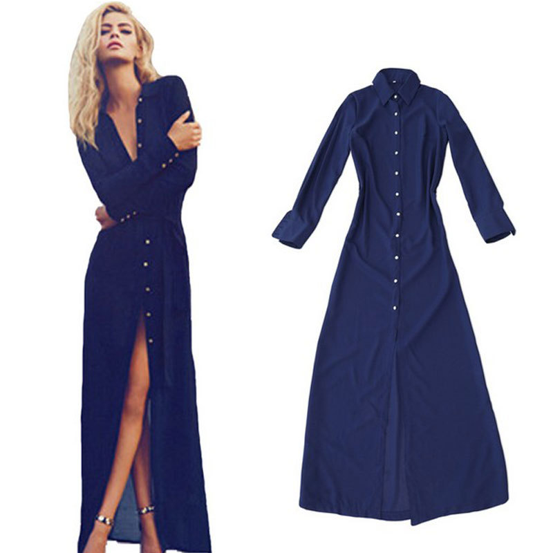 Long sleeve maxi dresses casual