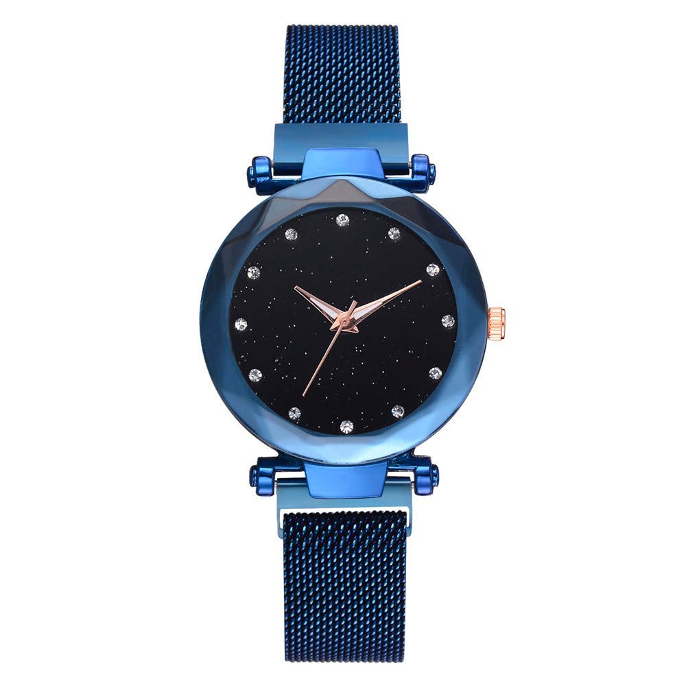 Hot Fashion Luxury Girls Womens Watches Casual Mesh Belt Strap Band Watch Number Dial Quartz Analog Wrist Watch On Sale Cheap Clearance Sale (Blue)