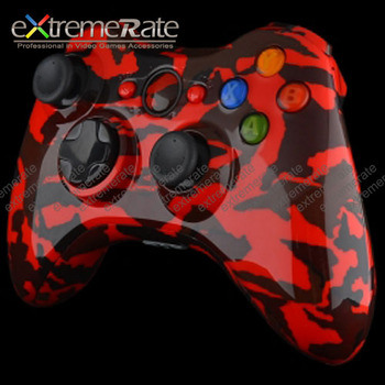 customized red camouflage shell for xbox 360 controller case housing