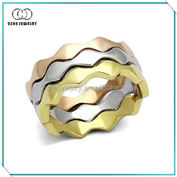 High Quality 3 color 925 silver plain stacking rings