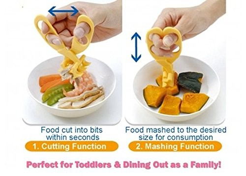 Baby Supplementary Food Crushing Clamp,Baby Food Scissors, Versatile Food Cutter for Babies Yellow