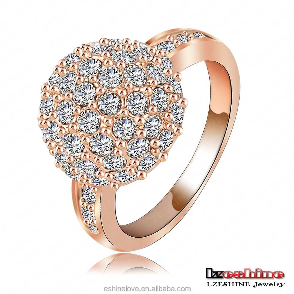 LZESHINE Fashion Ball Ring 18K Rose Gold Plated Jewelry Anillos with Austrian Crystal joias ouro 18k Ri-HQ1058-A