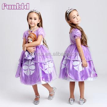 f1b40087b40b9f1 90 см-140 см с коротким рукавом блестящих длинное платье принцессы Софии  для детей